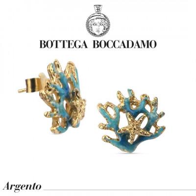 Hand-enamelled light blue coral earrings