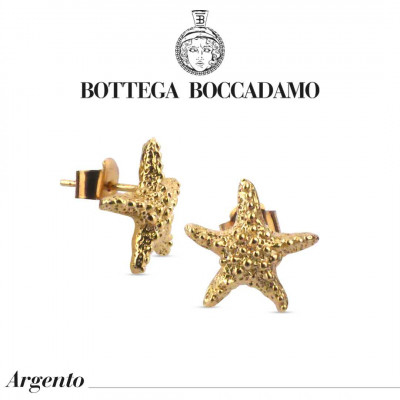 Yellow gold-plated stud earrings with starfish