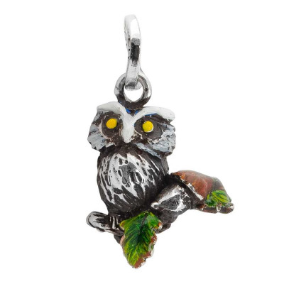 Charm with hand painted owl