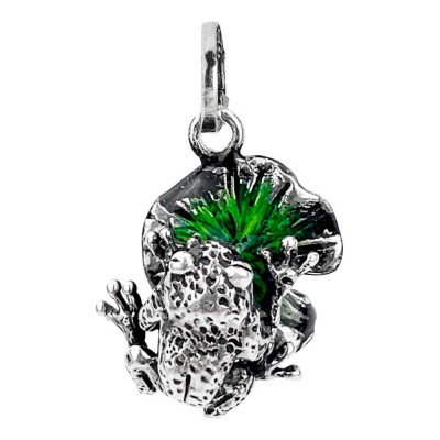 Charm with water-lily painted by hand and frog