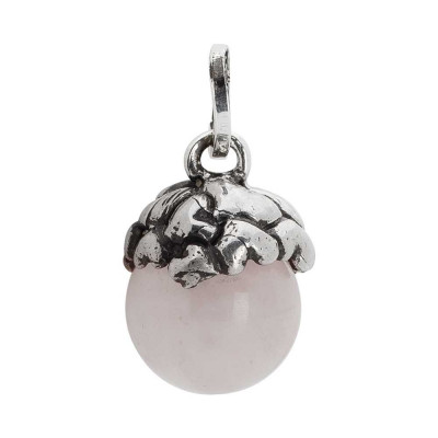 Charm with heart-shaped cup and rose quartz