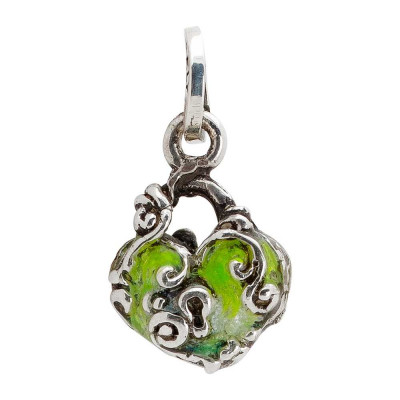 Charm with hand-painted heart and baroque decoration