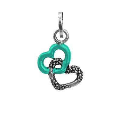 Charm with green hearts hug