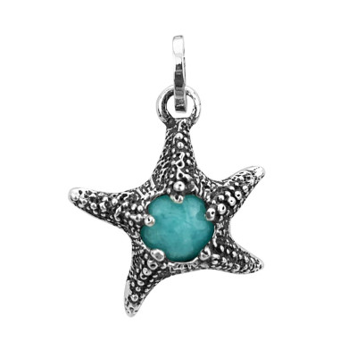 Starfish charm with amazonite