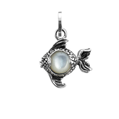Fish charm with mother of pearl