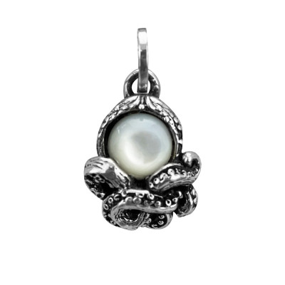 Octopus charm with mother of pearl