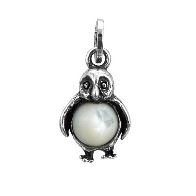 Penguin charm with mother of pearl