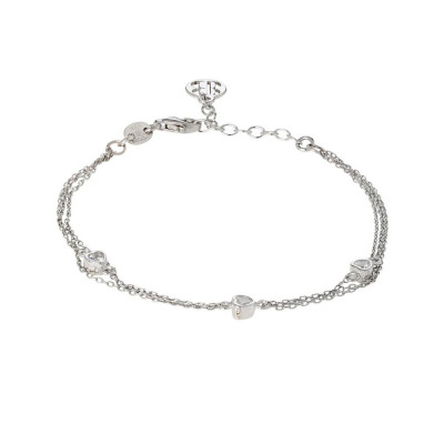 Bracelet double wire with zircons to heart