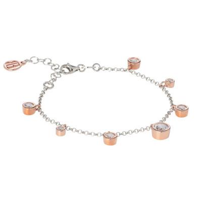 Bracelet bicolor with pendant of zircons diamond cut