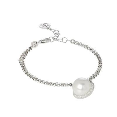 Bracelet with white pearl Swarovski and pavèdi zircons