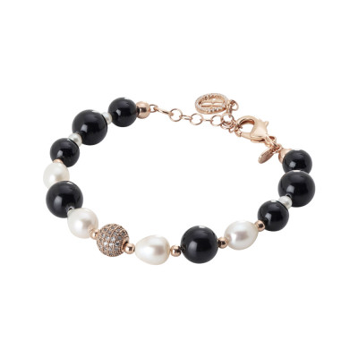 Rose gold plated bracelet with obsidian and natural pearls