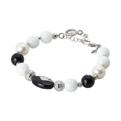 Rhodium plated bracelet with natural pearls, obsidian and white agate