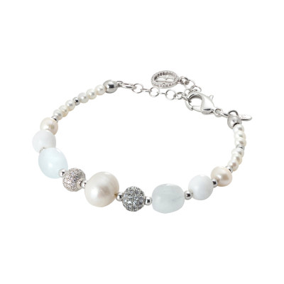 Rhodium plated bracelet with natural pearls, sea water and white agate