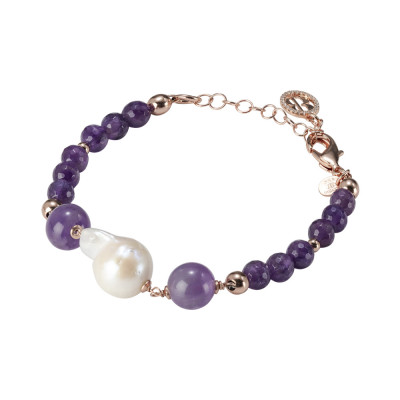 Rose gold plated bracelet with natural pearls and amethyst