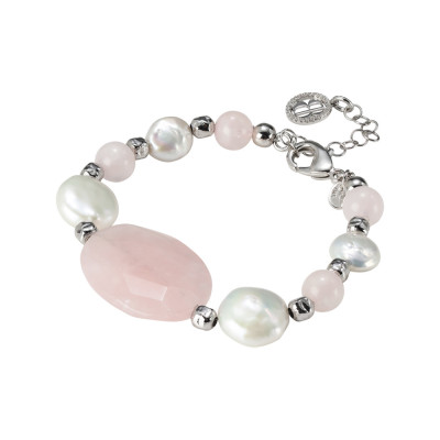 Rhodium plated bracelet with natural pearls and rose quartz