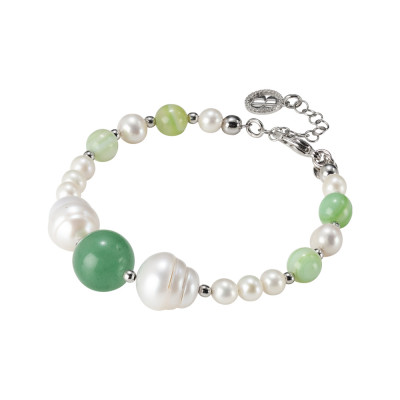 Rhodium plated bracelet with natural pearls and aventurine