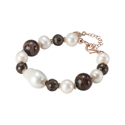 Bracelet with natural pearls, mix brown agate and smoky quartz