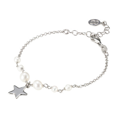 Bracelet with natural pearls and pendant star