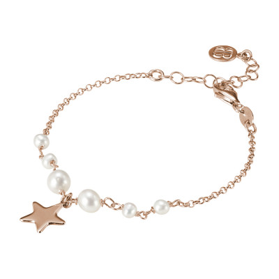 Rose gold plated bracelet with natural pearls and pendant star.