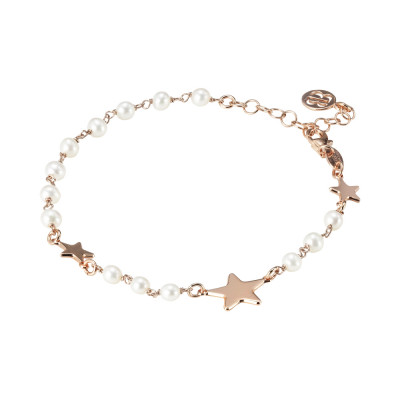 Rose gold plated bracelet with natural pearls and side stars