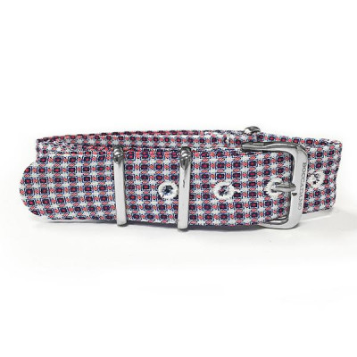 Sartorial strap pied de poule from the tones of red, blue and white