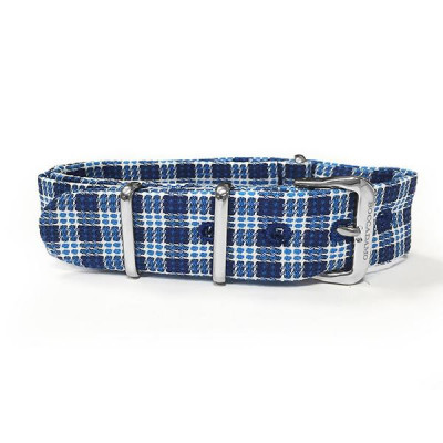 Sartorial strap weft Twill white and from the tones of blue