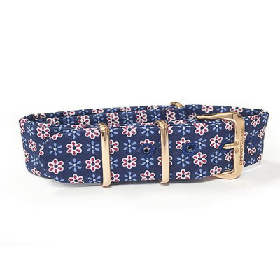 Sartorial strap floral fantasy red and blue and pink buckle