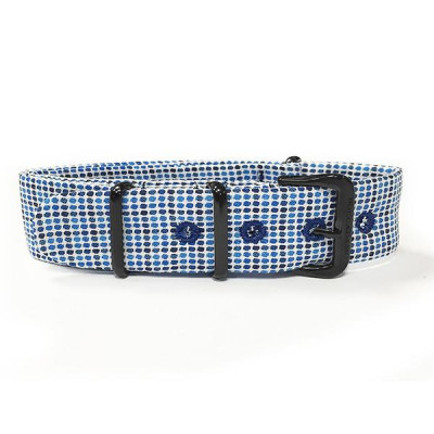 Sartorial strap micro fantasy to paintings and blue and white and black buckle