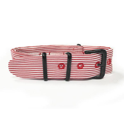 Sartorial strap to horizontal lines red and black buckle