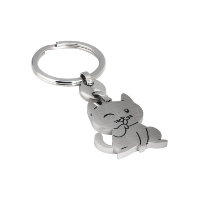 Satin keyring with kitten