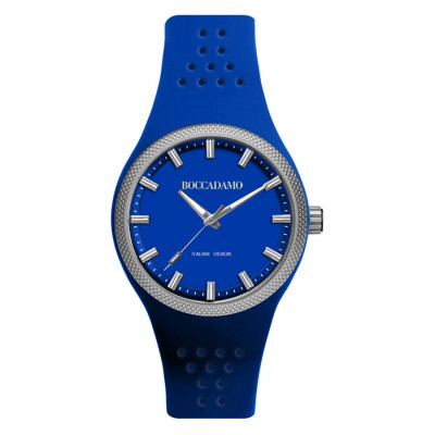 Clock in hypoallergenic silicone with a quadrant and strap royal blue