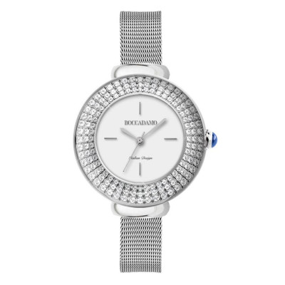 Wristwatch woman silver with triple thread with Swarovski crystals and cabochon crown