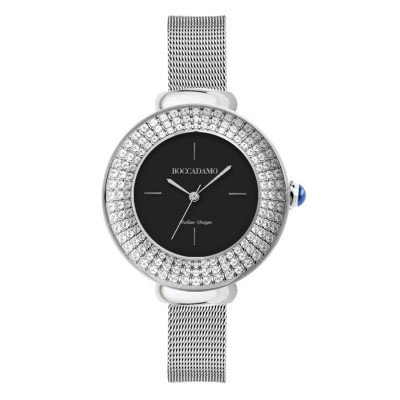 Wristwatch woman silver, black dial with triple thread with Swarovski crystals and cabochon crown