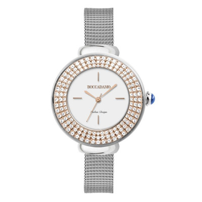 Wristwatch woman silver, with pink ring in triple thread with Swarovski crystals and cabochon crown
