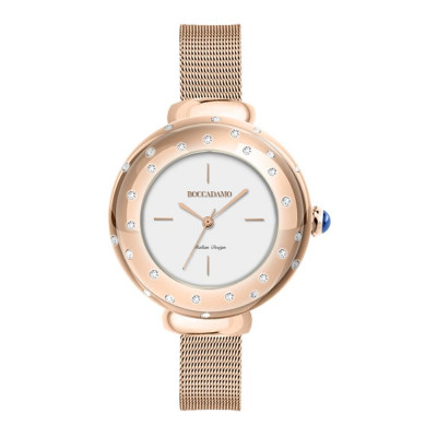 Wristwatch woman Rosato, with pink ring and Swarovski, cabochon crown