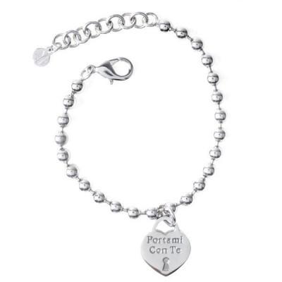 """Bracciale in acciaio con pendente a forma di cuore e messaggio inciso """"Portami Con Te"""""""