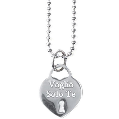 """Long necklace in steel with a pendant in the heart and engraved message """"I just want you"""""""