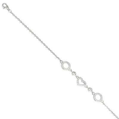 Bracelet in silver with heart of zircons