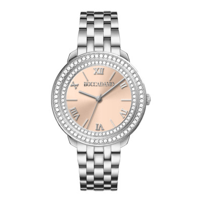 Women's silver only time watch with pink dial and double Swarovski bezel