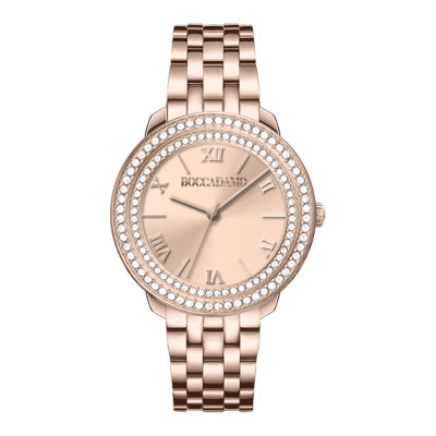Pink woman time only watch with pink dial and double Swarovski bezel