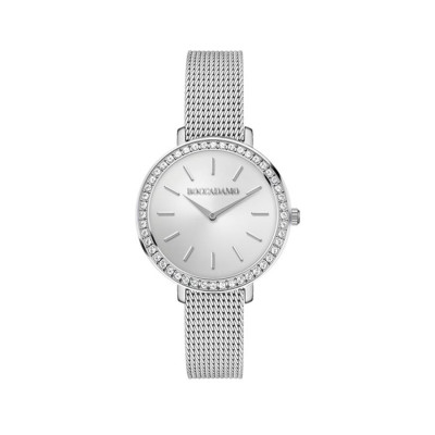 Wristwatch woman silver with circular dial and Swarovski