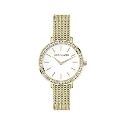 Wrist Watch golden woman with circular dial and Swarovski