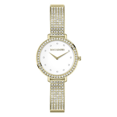 Wristwatch woman with golden strap and Swarovski