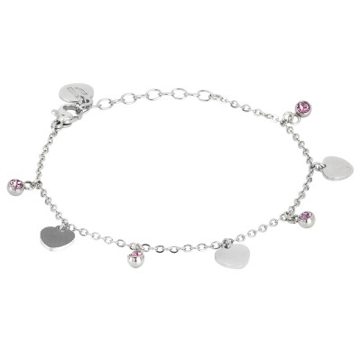 Bracelet with light ametist crystals and hearts
