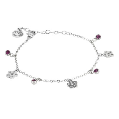 Bracelet with amethyst crystals and flowers