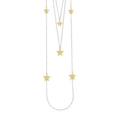 Three strand necklace with pink stars