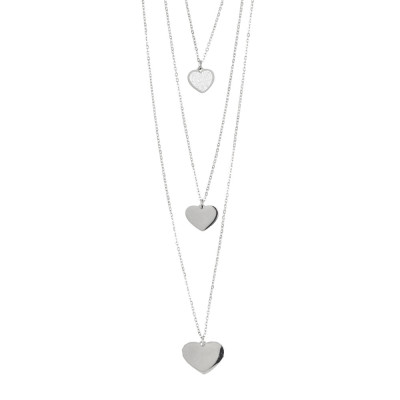 Three-wire rhodium-plated necklace with hanging hearts