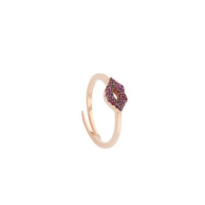 Ring with mouth of fuchsia cubic zirconia