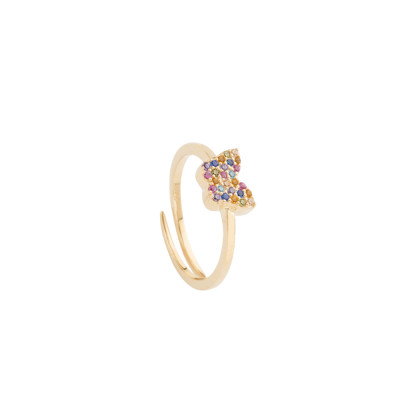 Ring with multicolor zircon butterfly