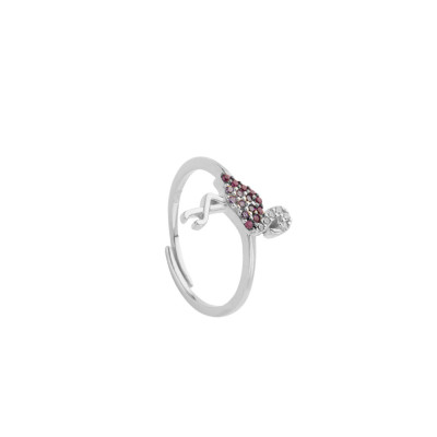 Ring with cubic zirconia flamingo
